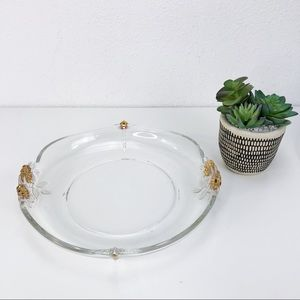 Vintage Heavy Clear Glass Serving Dish Gold Roses